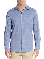 Report Collection Regular Fit Patterned Cotton Sportshirt Blue