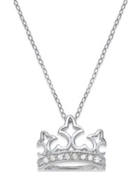 Macy's Diamond Crown Pendant Necklace 1 10 Ct. T.W. In Sterling Silver
