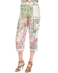 Etro Fern Paisley Patchwork Pants White Multi