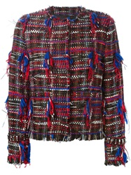 Msgm Fringed Boucle Jacket Multicolour