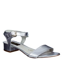 Marta Jonsson Women S Low Heel Sandal With Buckle Silver