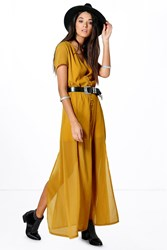 Boohoo Chiffon Button Through Sliced Maxi Dress Olive
