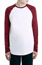 Topman Raglan Baseball T Shirt Red Multi