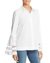 Marled Mesh Inset Bell Sleeve Blouse 100 Bloomingdale's Exclusive White