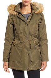 Kate Spade Women's New York Parka With Faux Fur Trim