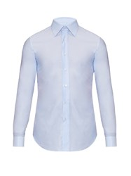 Brioni Doubled Cuff Cotton Shirt Light Blue