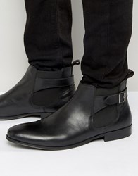 Kg By Kurt Geiger Buckle Chelsea Boots In Black Leather Black
