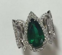 Faberge Emerald Pear Shaped Diamond Ring Green