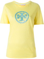 Tory Burch Sequined Logo T Shirt Yellow And Orange