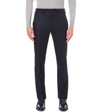 Richard James Slim Fit Speckled Wool Trousers Navy