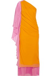 Diane Von Furstenberg Nori One Shoulder Silk Chiffon Dress Yellow