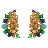 Eclectica Vintage 1967 Christian Dior Gold Plated Clip On Earrings Green Blue