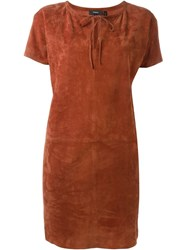 Theory Suede Shift Dress Brown