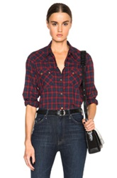 Nili Lotan Tartan Check Top In Red Checkered And Plaid