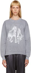Baja East Grey Logo Horse Sweatshirt