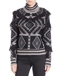 Buffalo David Bitton Tribal Turtleneck Sweater Grey Combo
