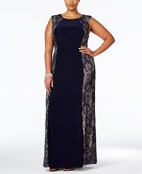 R And M Richards Plus Size Lace Panel Gown Navy