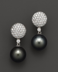 Bloomingdale's Diamond And Tahitian Pearl Drop Earrings In 14K White Gold 11 12Mm Black