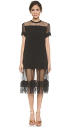 Rochas Lace Trim Linen Dress Nero