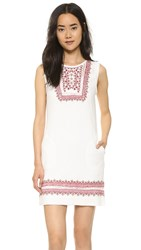Twelfth St. By Cynthia Vincent Embroidered Flutter Dress Cream