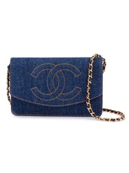 Chanel Vintage Denim Wallet On Chain Blue
