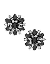 Kate Spade Crystal Flower Stud Earrings Black