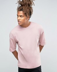 Asos Oversized Longline T Shirt With Half Sleeve In Pink Chalk Rose