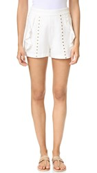 Moon River Stud Detail Shorts Off White