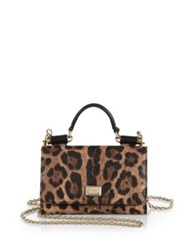 Dolce And Gabbana Leopard Print Mini Chain Crossbody Bag