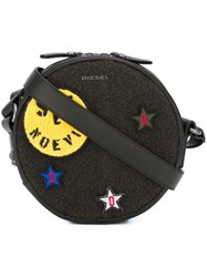 Diesel Embroidered Patch Crossbody Bag Black