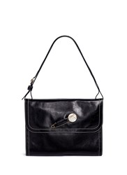 Hillier Bartley Faux Pearl Pin Leather Saddle Bag Black