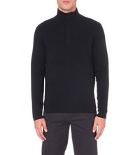 Hugo Boss Textured Wool Blend Jumper Dark Blue