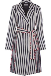 Tome Striped Cotton Shirt Dress Navy