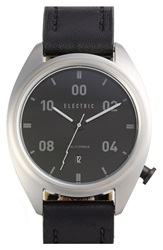Electric Eyewear 'Ow01' Leather Strap Watch 40Mm Black Silver