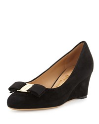 Salvatore Ferragamo Mirabel Suede Wedge Pump Black Nero