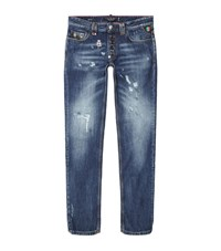 Philipp Plein Do This Straight Cut Ripped Jeans Male Blue