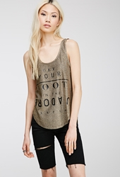 Forever 21 Paris Metallic Tank Top Gold Black