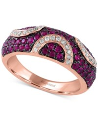 Effy Collection Rosa By Effy Ruby 7 8 Ct. T.W. And Diamond 1 5 Ct. T.W. Pave Pattern Ring In 14K Rose Gold Red