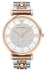 Emporio Armani 'Retro' Bracelet Watch 32Mm Silver Rose Gold