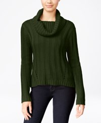 Hooked Up By Iot It's Our Time Juniors' Rib Knit Cowl Neck Sweater Thyme Green