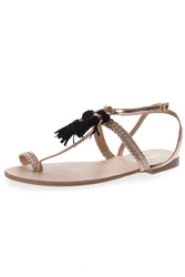 Alice And You Tassle Detail T Bar Sandals Rose Gold
