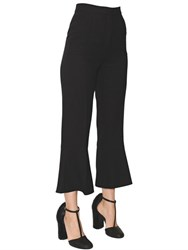 Salvatore Ferragamo Cropped Flared Wool Crepe Pants