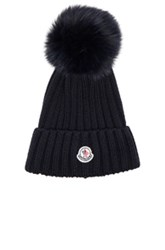 Moncler Fur Pom Ribbed Beanie In Blue