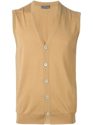 Drumohr Buttoned Knit Vest Nude And Neutrals