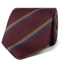 Drakes Drake's 8Cm Striped Silk Faille Tie Burgundy