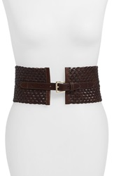 Michael Michael Kors Braided Leather Panel Belt Chocolate