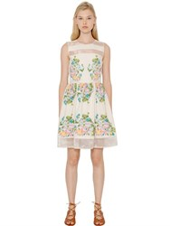 Blugirl Embroidered Cotton Toile And Organza Dress