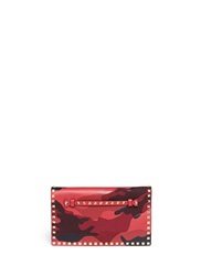 Valentino 'Rockstud' Camouflage Leather Canvas Flap Clutch Red