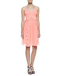 Nanette Lepore Merengue Silk Spaghetti Strap Dress Punch Pink