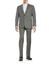 Lauren Ralph Lauren Plaid Two Button Wool Suit Grey